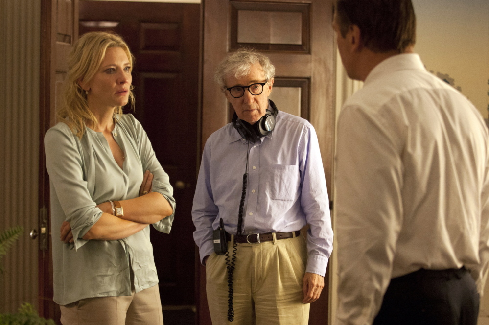 "Woody Allen directs Cate Blanchett and Alec Baldwin in 2013's ""Blue Jasmine."" Allen will receive the Cecil B. DeMille Award at Sunday's Golden Globe Awards."