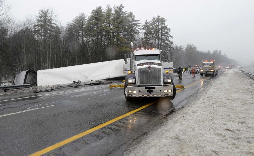 Dan Morin, turnpike spokesman, said motorists on the turnpike should expect stops and delays for most of the day on the southbound lanes between exit 63 in Gray and exit 53 in Falmouth while crews remove four tractor trailers and a passenger vehicle that crashed early Saturday morning.