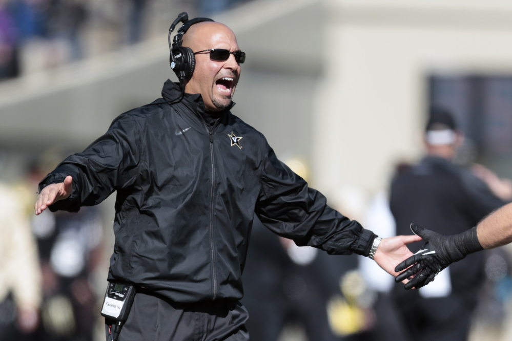 James Franklin, who had three successful seasons at Vanderbilt, was hired Saturday as the new football coach at Penn State.
