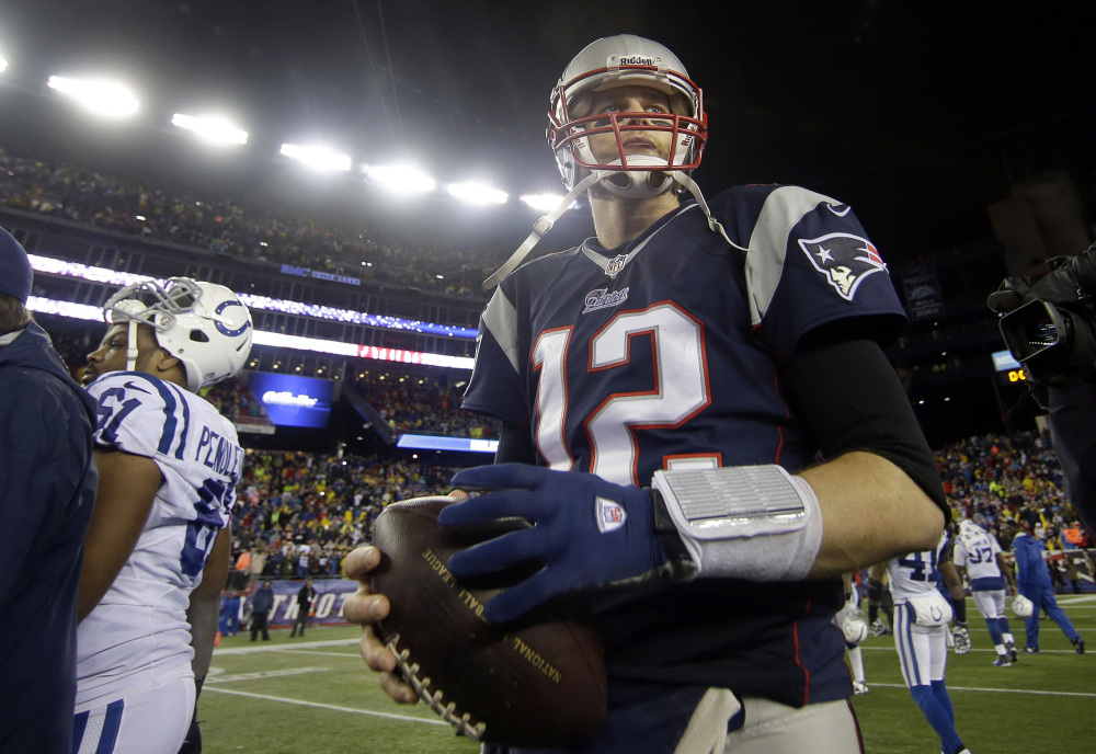 Patriots quarterback Tom Brady is headed to the AFC championship game for the eighth time in 13 years after New England used a strong running game to beat the Indianapolis Colts 43-22 Saturday night at Gillette Stadium.