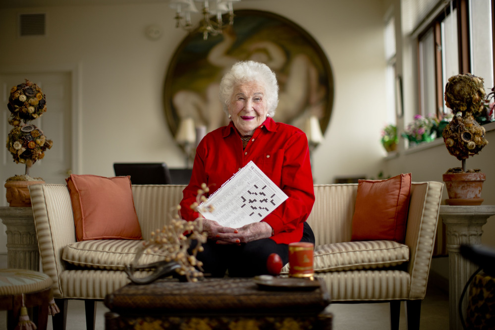 Longtime crossword constructor Bernice Gordon, born on Jan. 11, 1914, poses for a portrait at her home. She began creating puzzles in her 30s because she liked the challenge and it offered some extra pocket money.