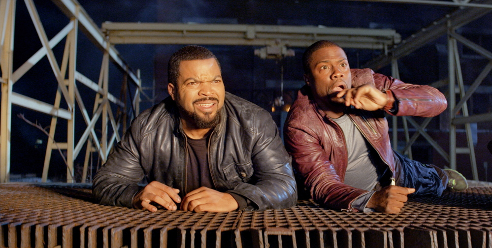 "Ice Cube, left, and Kevin Hart in a tight spot in ""Ride Along."""