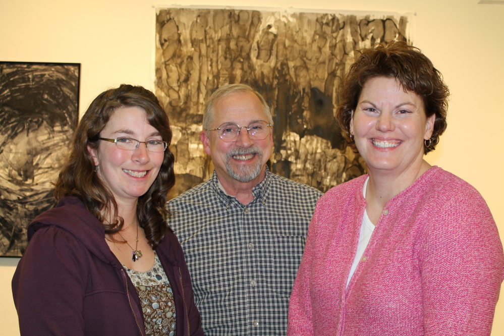 Kathi Smith, USM alum, featured artist and professor at Plymouth State College, with family members Jim Smith and Beth Hartsock of Wilton.