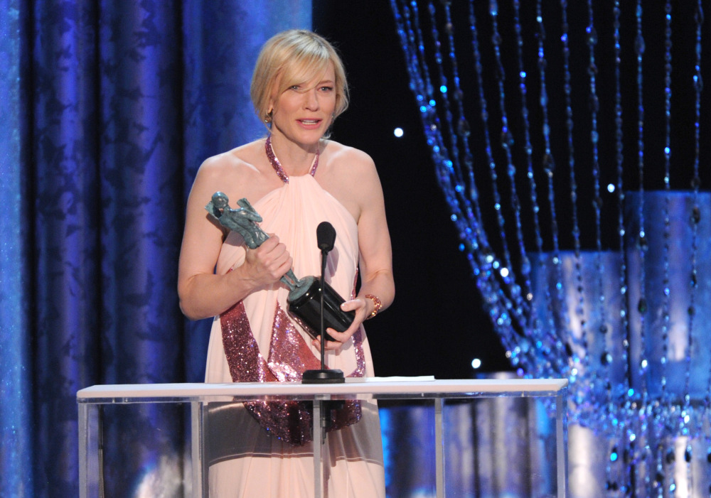 """Cate Blanchett accepts the award for outstanding performance by a female actor in a leading role for """"Blue Jasmine"""" at the 20th annual Screen Actors Guild Awards at the Shrine Auditorium in Los Angeles on Saturday."""