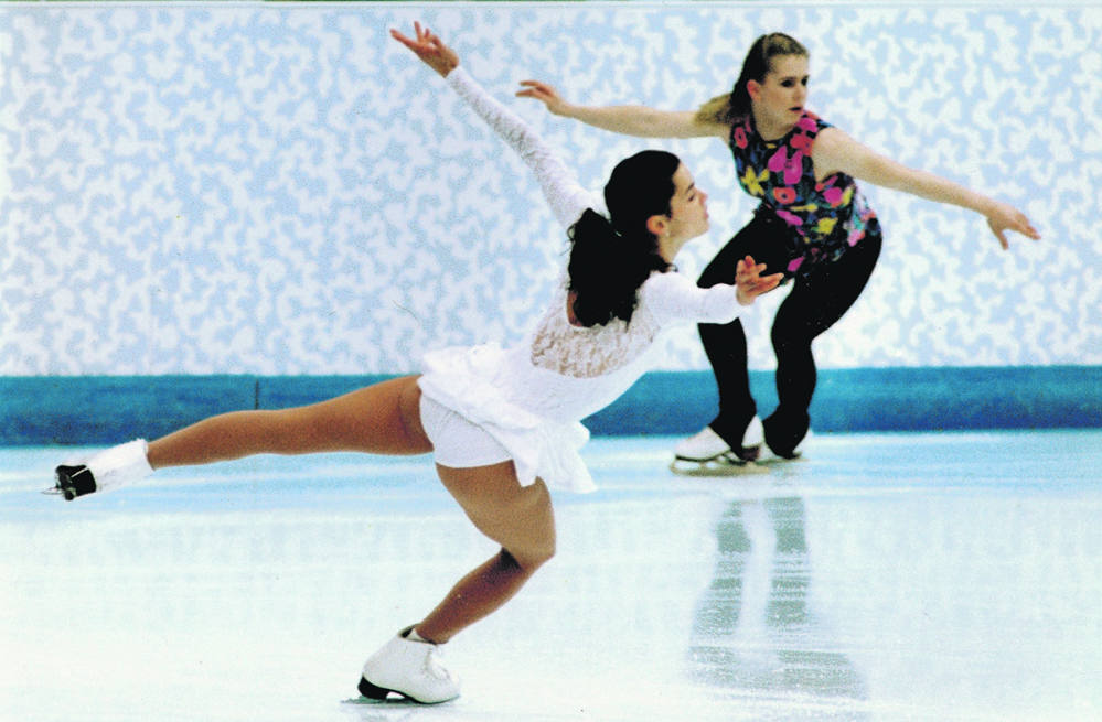 U.S. skaters Nancy Kerrigan and Tonya Harding skate during a practice session at the 1994 Lillehammer Olympics in Norway. It was the first time the two skaters were on the ice together again since Kerrigan was clubbed across the knee.