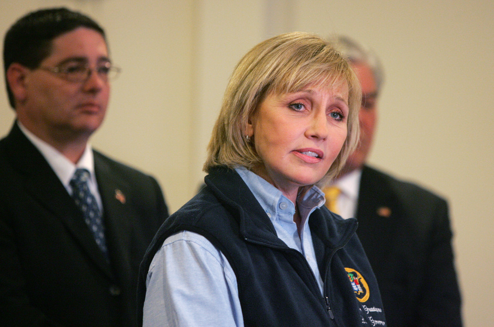 Lt. Gov. Kim Guadagno speaks to the press during the the Dr. Martin Luther King, Jr. National Day of Service in Union Beach, N.J., on Monday.
