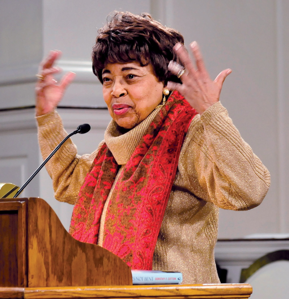 Staff photo by David Leaming AUTHOR: Dr. Dorothy P. Cotton spoke to a full house at Lorimer Chapel at Colby College in Waterville about civil rights during the Dr. Martin Luther King Jr. commemorative program on Monday, Jan. 20, 2014.