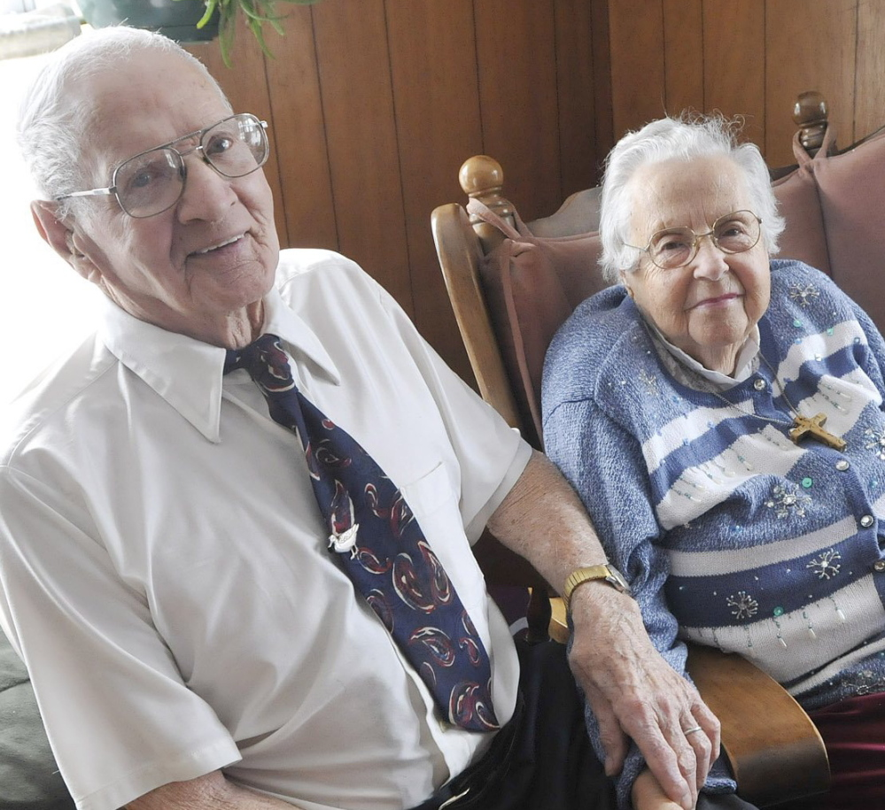 Malcolm and Mary Lyons are shown at their home in Windham on Feb. 14, 2011, shortly after they celebrated their 73rd anniversary. Mrs. Lyons died Saturday at age 95.