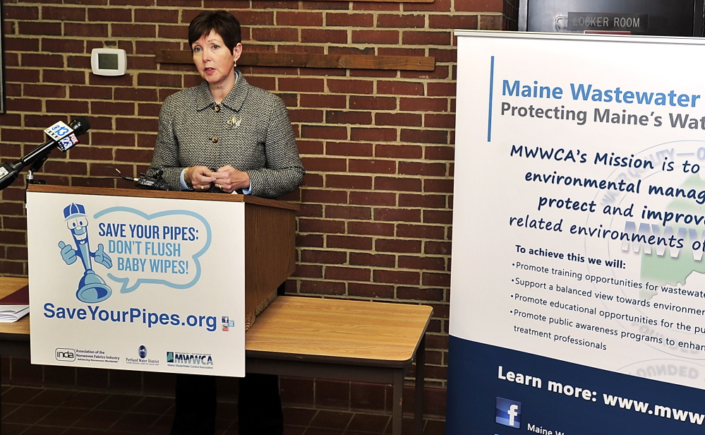Patricia Aho, Maine DEP Commissioner, addresses the media at a press conference Tuesday at the Westbrook Treatment Facility as Westbrook partners with INDA, the Association of the Nonwoven Fabrics Industry and the Maine WasteWater Control Association to address the issue of residents flushing baby wipes down the toilet and fouling the sewer system pumps.