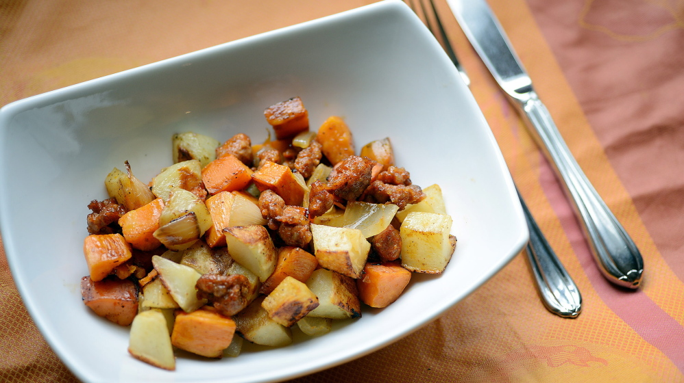 Roasted Russet and Sweet Potato Hash With Chorizo makes an easy, nourishing meal.