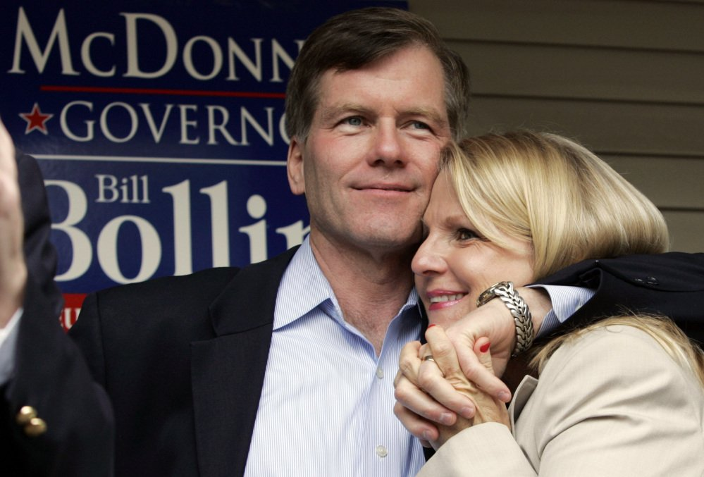 Former Virginia Gov. Bob McDonnell hugs his wife, Maureen, during a campaign rally in Richmond, Va., in 2009. McDonnell and his wife were indicted Tuesday on corruption charges after a months-long federal investigation into gifts the Republican received from a political donor.