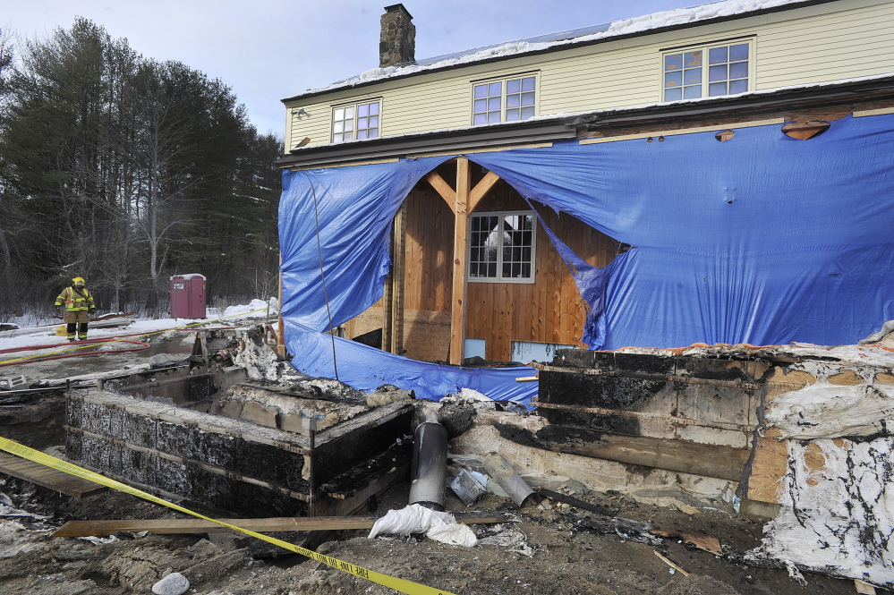 Scene of a propane tank fire at a home on Ledge Road in Yarmouth on Wednesday, January, 22, 2014.