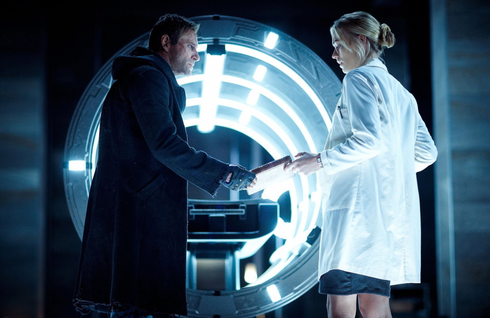 Aaron Eckhart with Yvonne Strahovski, who plays Dr. Terra Wade, an electro-physiologist who is following in the footsteps of Victor Frankenstein.