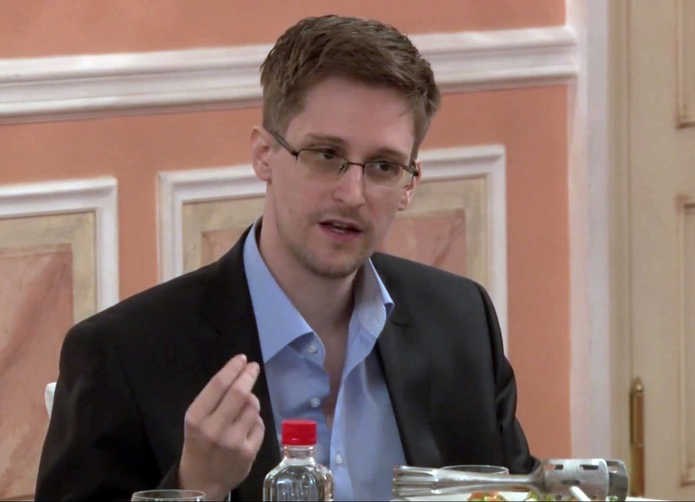In this image made from video and released by WikiLeaks, former National Security Agency systems analyst Edward Snowden speaks during a presentation ceremony for the Sam Adams Award in Moscow, Russia, on Oct. 11, 2013.