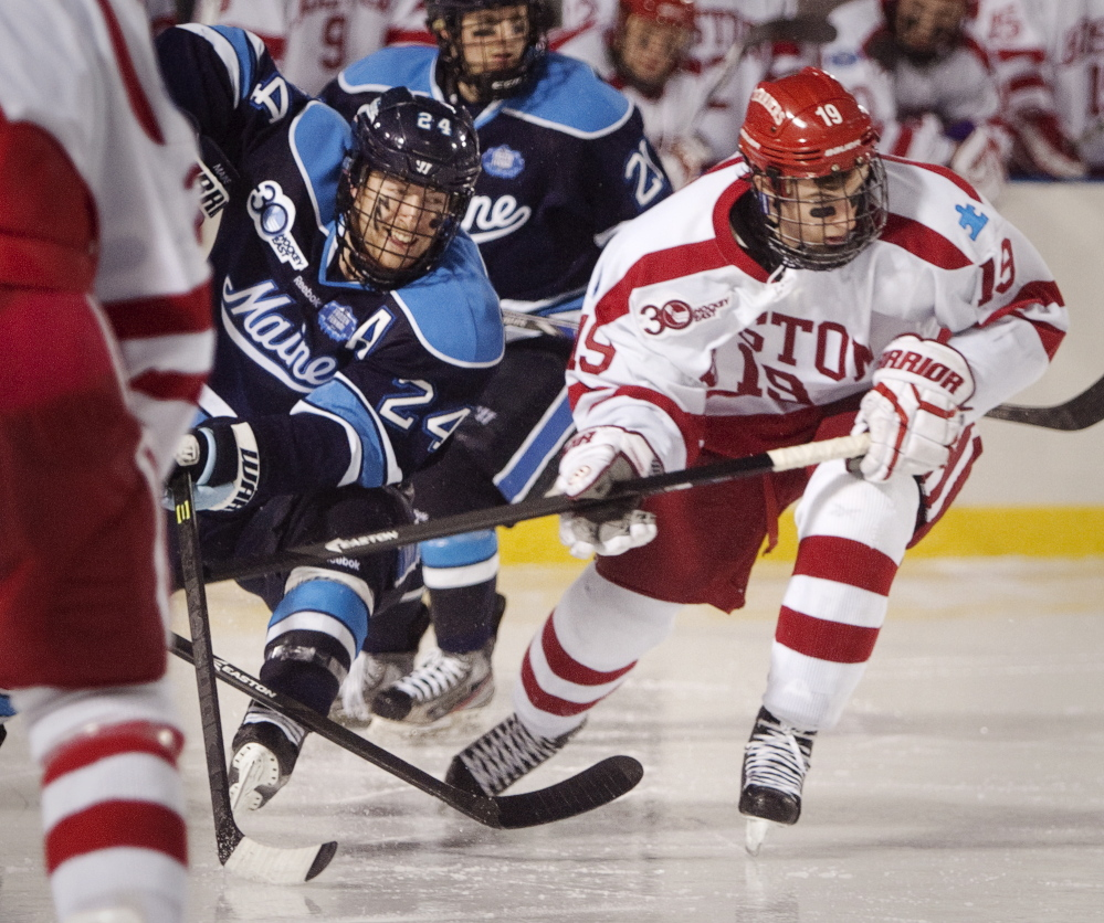 Mark Anthoine of the University of Maine, left, has a penchant for big goals – remember the winner in the Hockey East semifinals two years ago? – and a knack for producing on the power play and penalty kills. The biggest test lies ahead – helping the team return to the NCAA tournament.