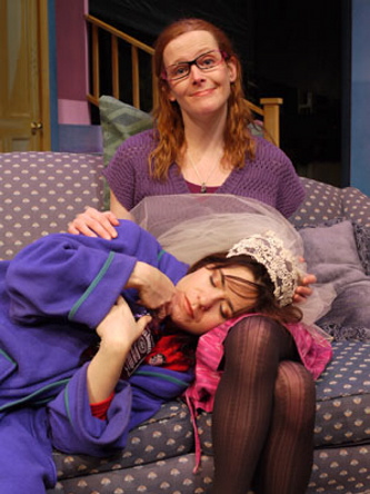 """Anna O'Donoghue, seated, and Rebecca Hart in """"Tigers Be Still,"""" continuing through Feb. 2 at The Public Theatre in Lewiston."""