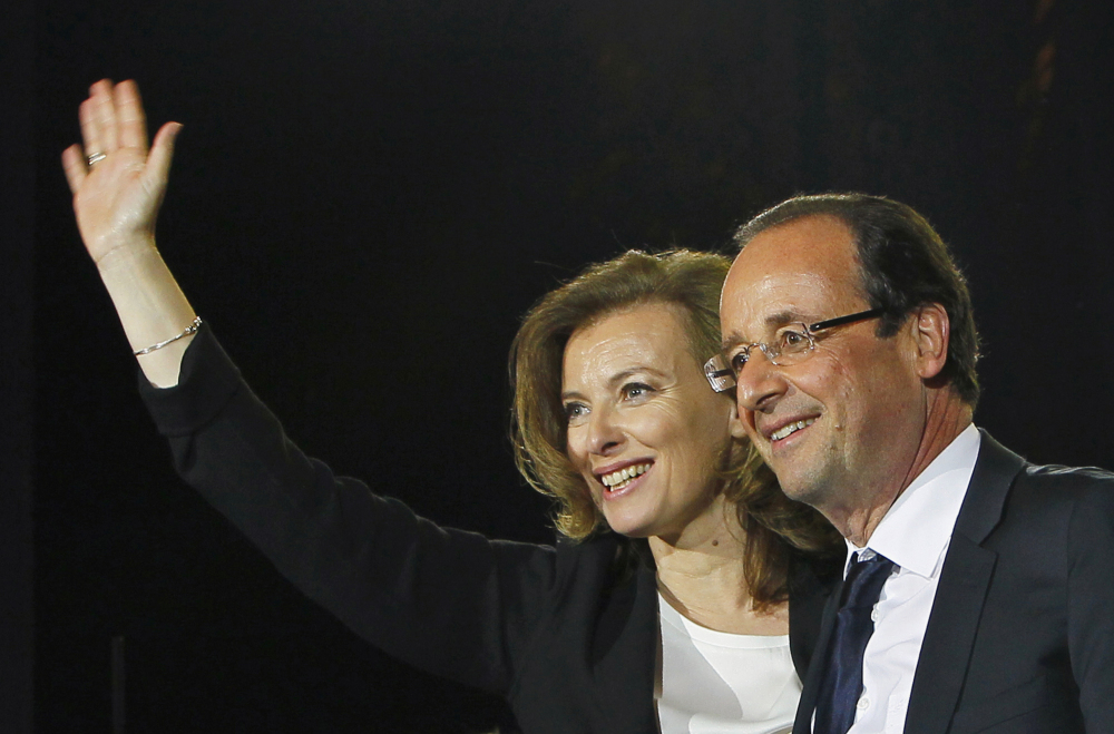 French president-elect Francois Hollande and his companion Valerie Trierweiler celebrating his election victory in Bastille Square in Paris, France, in May 2012. A French news agency reported that President Francois Hollande has ended his relationship with his companion of seven years Valerie Trierweiler.