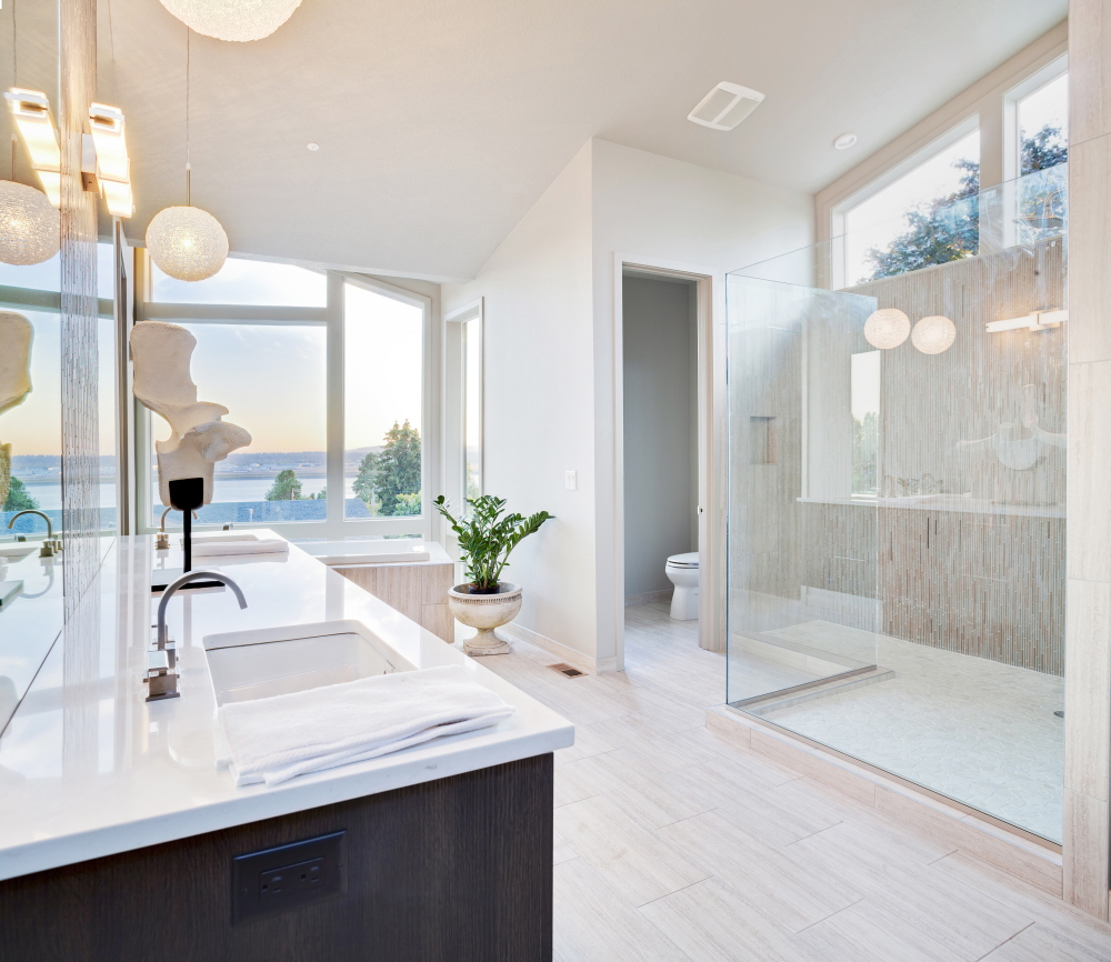 Homeowners today are installing two-person showers with multiple sprays. If they don't forgo a tub altogether, it's at least separate from the shower. Homeowners also seek a light-filled bath, and one with double sinks.
