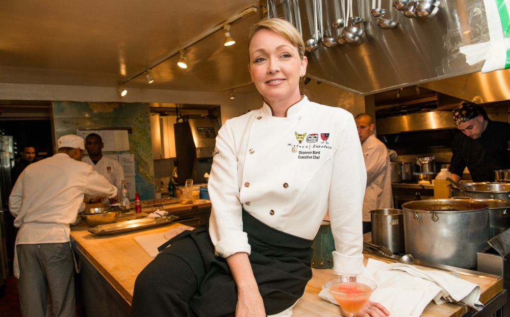 Shannon Bard pauses amidst a whirl of meal preparation at the James Beard House in New York City on Monday.