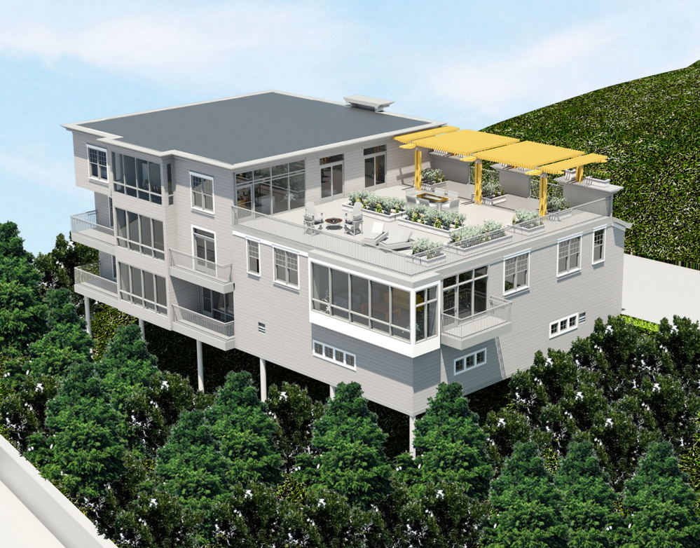 Courtesy Archetype Architects An architect's rendering shows a proposed residential project on Sheridan Street that would be built on a 45-degree slope, requiring pier supports as tall as 14 feet.