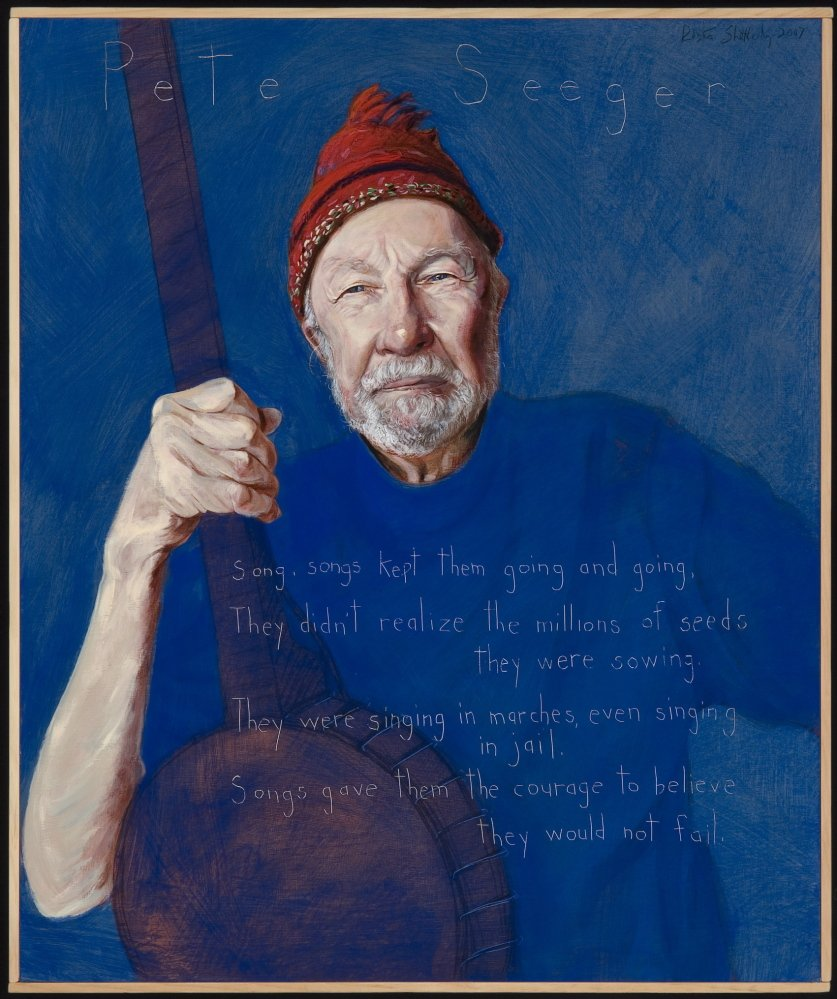 A portrait of Pete Seeger by Maine artist, Robert Shetterly for his Americans Who Tell the Truth series. The series and narratives represent citizens who courageously engage issues of social, environmental and economic fairness.