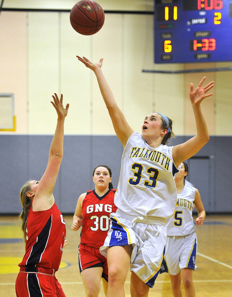 Liina Paavonpera of Falmouth puts up a shot on a drive to the basket against Gray-New Gloucester. Paavonpera had 10 points and 10 rebounds in Falmouth's win.