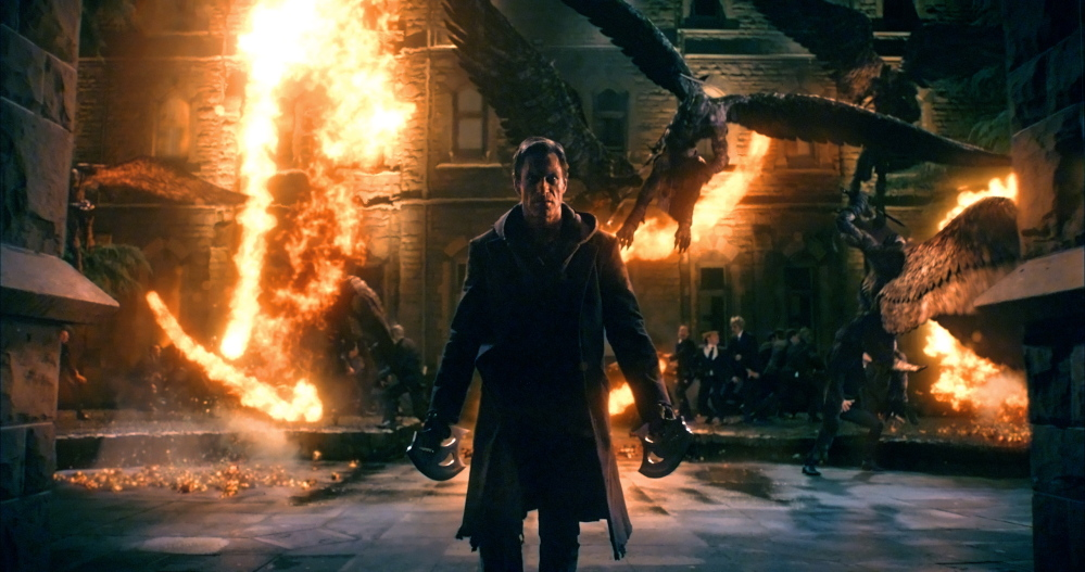 "Aaron Eckhart in a scene from ""I, Frankenstein."""