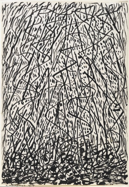 """Improvisations of New York"" by Abraham Walkowitz is part of the ""Fine Lines"" exhibit of drawings at the Portland Museum of Art."