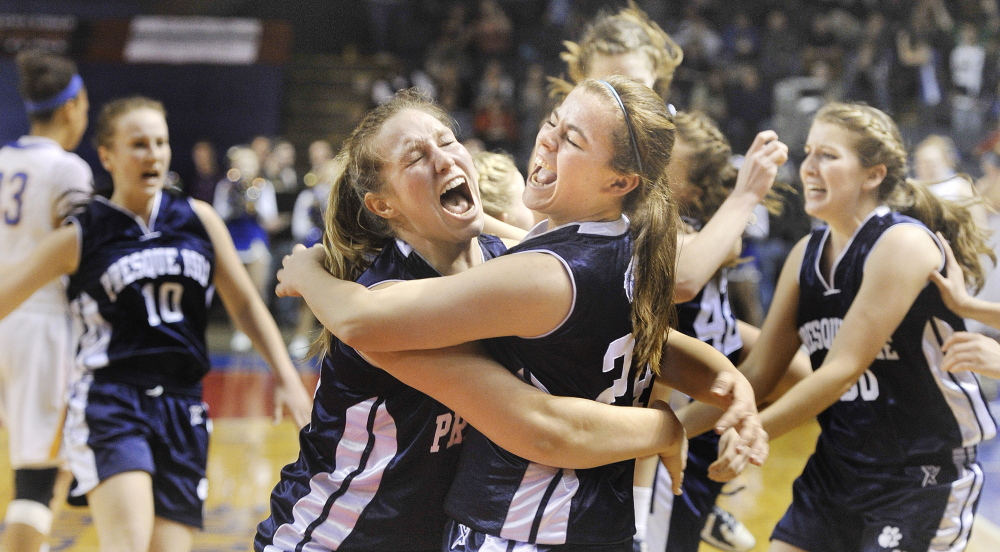 Scenes like these may not be shown on television in this season's high school basketball championship tournaments: Presque Isle players celebrate their 2013 Class B state championship.