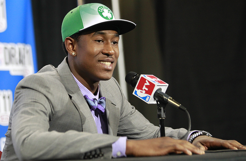 Providence guard Marshon Brooks talks to reporters after being selected by the Boston Celtics during the NBA basketball draft, Thursday, June 23, 2011, in Newark, N.J.