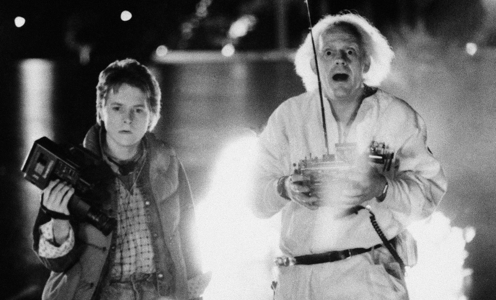 This 1985 photo shows Michael J. Fox as Marty McFly, left, and Christopher Lloyd as inventor Dr. Emmett Brown.