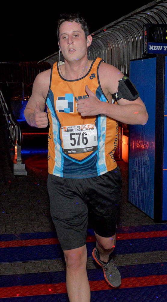 Nate Poulin runs in last year's Empire State Building Run-Up, the annual climb up the building's 1,576 steps. Poulin will run it again Wednesday.