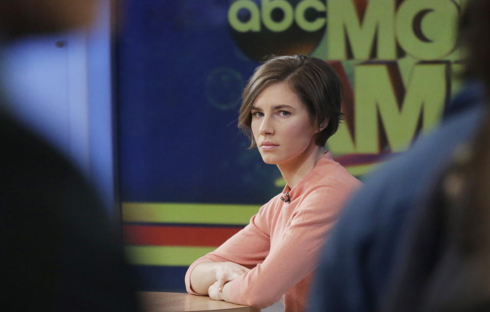 """Amanda Knox awaits an interview on ABC's """"Good Morning America"""" with Robin Roberts. """"I'm going to fight this to the very end,"""" she said of her reinstated murder conviction."""