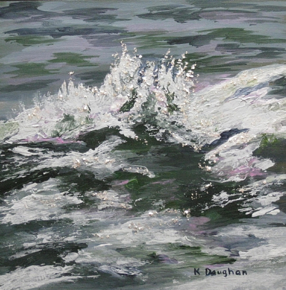 """Splash,"" a 10-by-10 acyrlic painting by Portland artist Kathleen Daughan. She has been selling her paintings on Etsy since 2012."