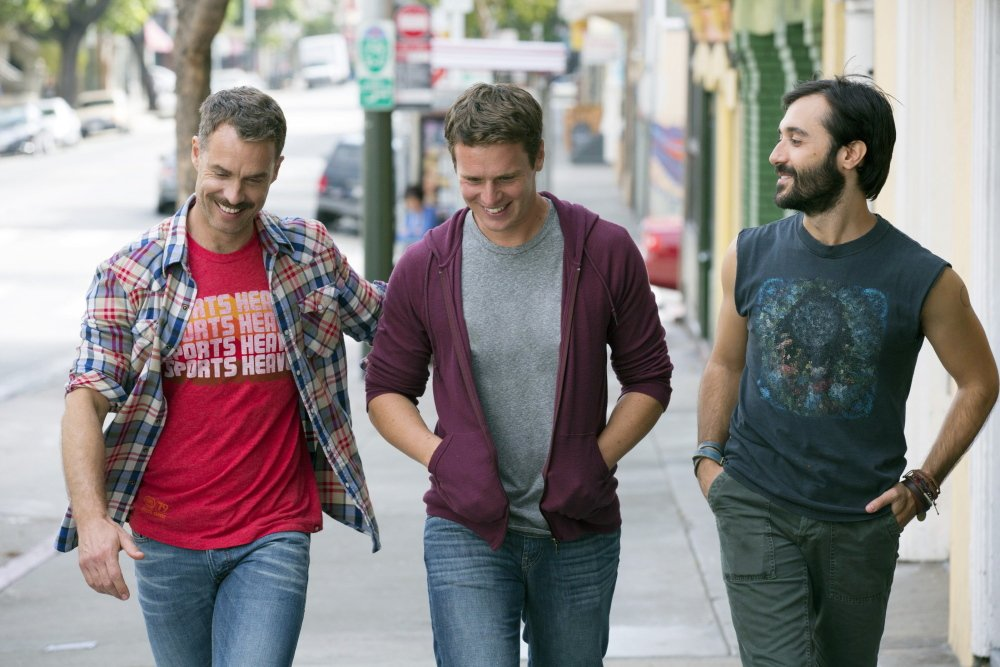 "Murray Bartlett, left, Jonathan Groff and Frankie J. Alvarez in ""Looking."""