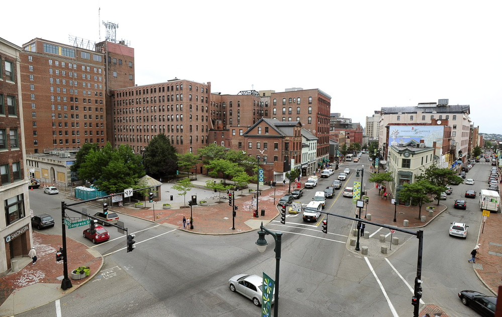 A view of Congress Square, part of which could be sold to the Eastland Hotel, upper left. A vote could nullify the plan.