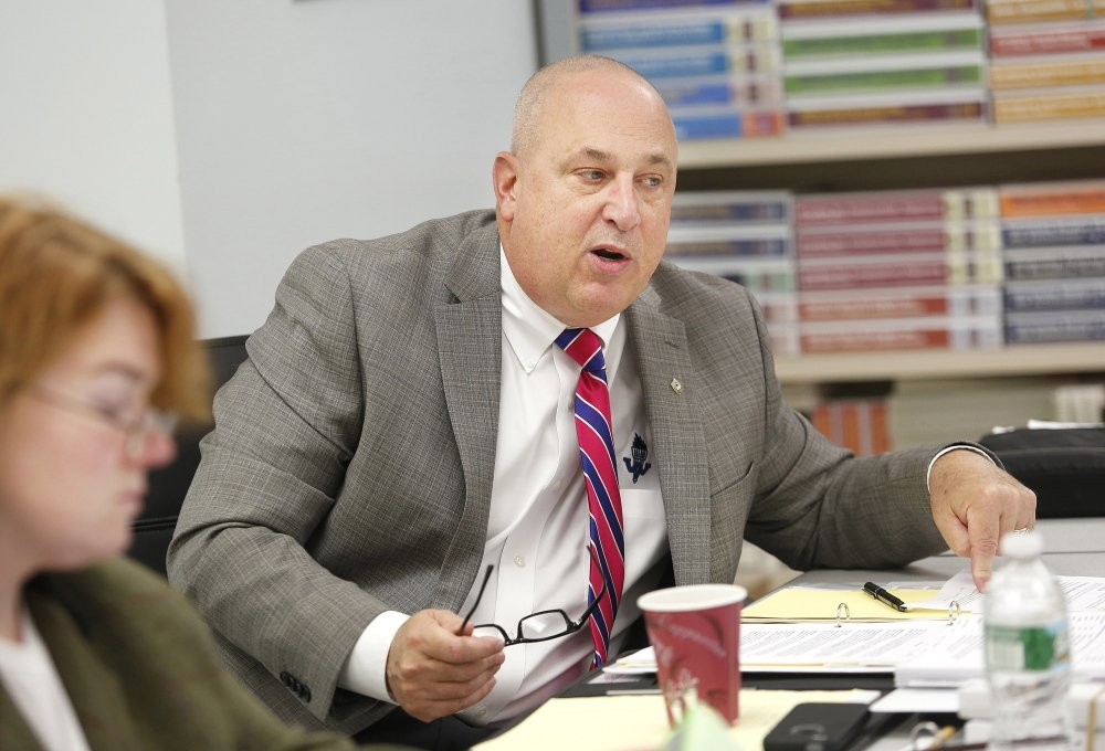 Westbrook High School Superintendent Marc Gousse speaks during a Nov. 18, 2013, policy committee meeting at the school.