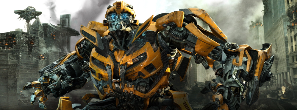 """The character Bumblebee in a scene from """"Transformers: Dark of the Moon,"""" one of the films based on a toy line that reeks of corporate synergy."""