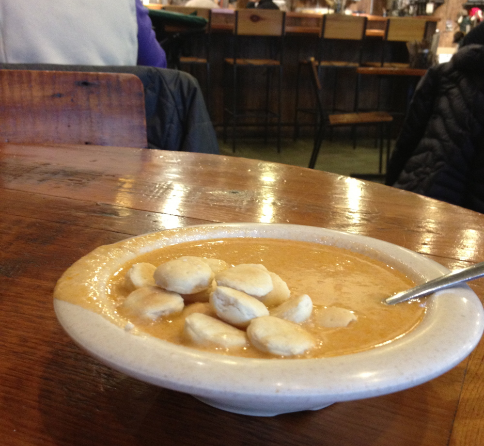 The cafe's lobster bisque has enough lobster meat to almost qualify as a stew.