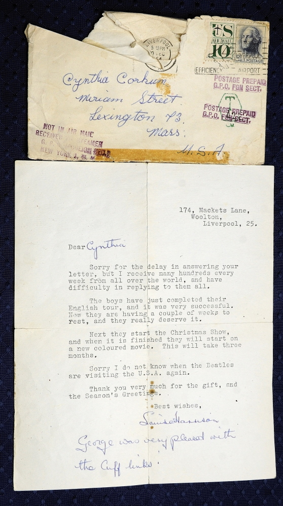 China resident Cindy Masiero got this thank-you note signed by George Harrison's sister Louise Harrison, acknowledging a set of cuff links she had made and sent to her favorite Beatle.