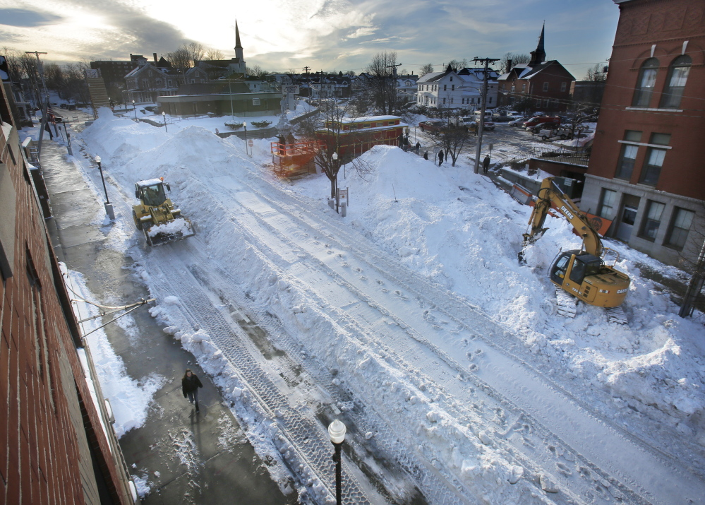 Adams Street in Biddeford is transformed into a winter wonderland Thursday in preparation for the Big Air competition and WinterFest.