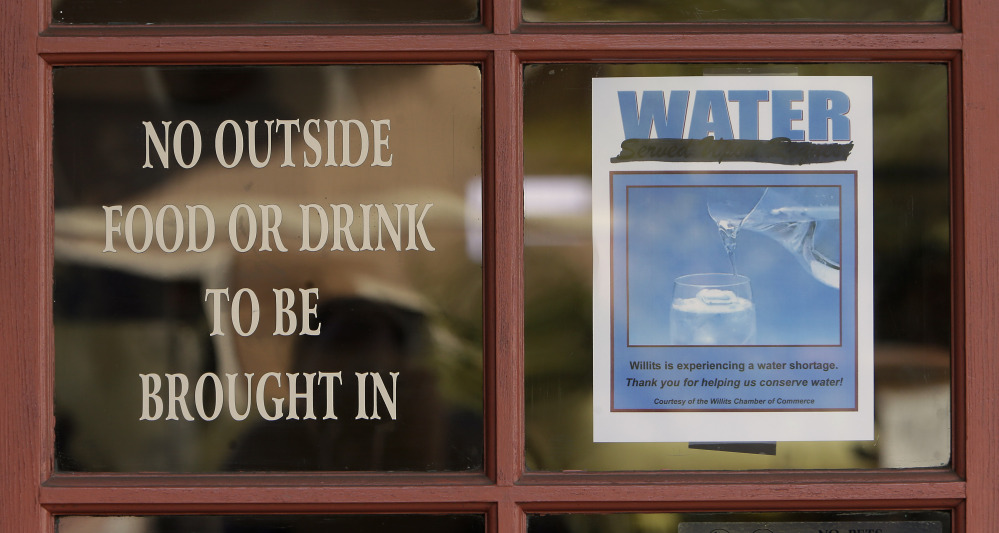 Diners at the Country Skillet restaurant in Willits, Calif., are reminded of the water shortage facing the community. Willits city leaders have banned lawn watering, car washing and have asked restaurants to serve water only upon request.