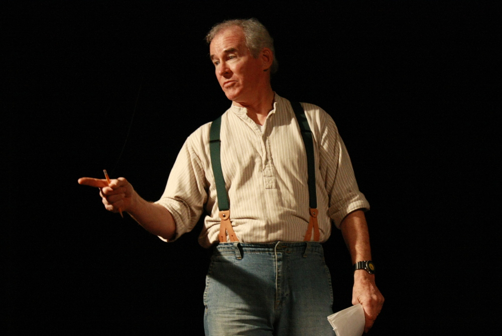 """Sedgwick actor Bob Burke rehearses a scene from """"The Grapes of Wrath"""" on stage Saturday at the Stonington Opera House."""