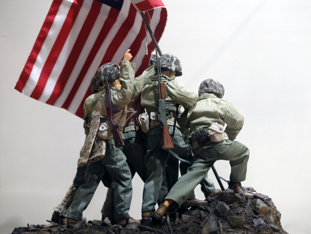 G.I. Joe action figures portray Raising the Flag on Iwo Jima in a display at the New York State Military Museum in Saratoga Springs, N.Y.