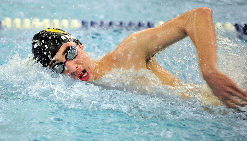 Michael O'Donovan of Cheverus heads toward a victory in the 200 freestyle, which turned out to be a good warm-up for his meet-record swim of 4:45.23 in the 500 freestyle.