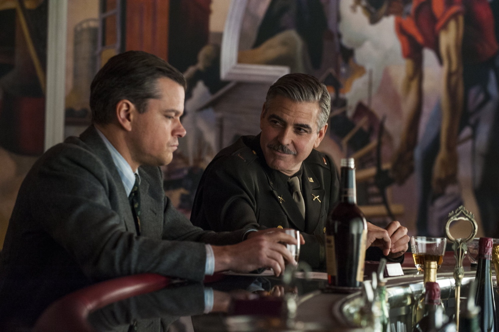 "Matt Damon, left, and George Clooney hatch a plot to recover art stolen by the Nazis in ""The Monuments Men."""