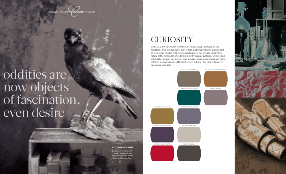 Sherwin-Williams' curiosity palette is avant-garde, experiential, dark and exotic.