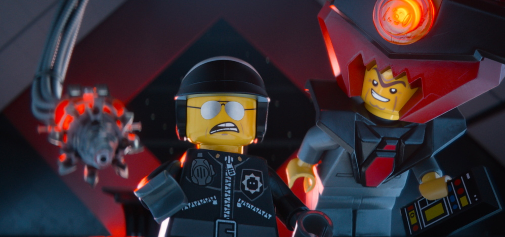 """Bad Cop/Good Cop, voiced by Liam Neeson, left, and President Business, voiced by Will Ferrell, in """"The Lego Movie."""""""