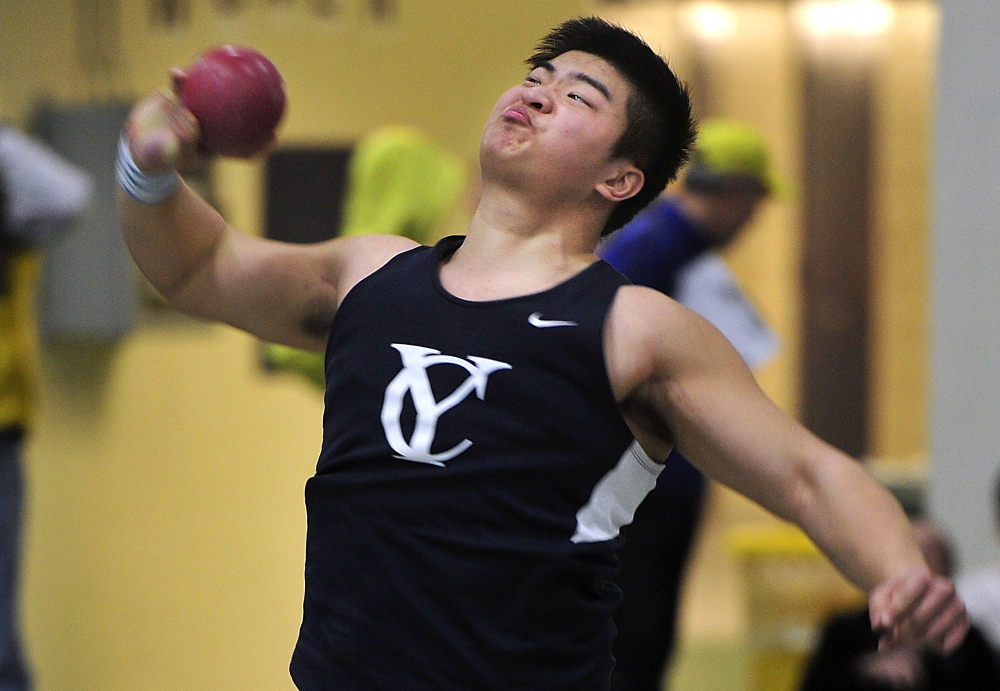 Darren Shi of Yarmouth comes out the winner in the shot put with a throw of 48 feet, 1 inch. On top of that, he set a school record for the Clippers.