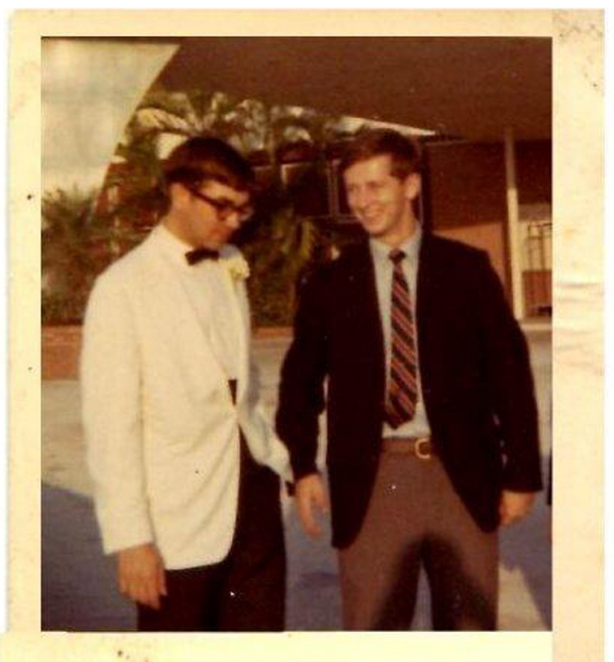 Steve McManus, left, and Bob Saxon in 1965, a year after they saw the Beatles in Miami Beach.